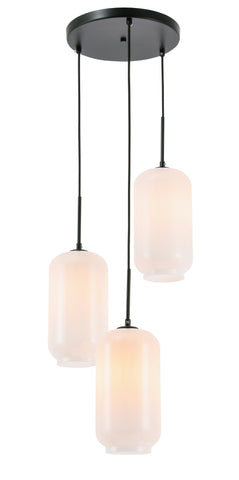 Collier 3 light Black and Frosted white glass pendant - llightsdaddy - Living District - Pendant Lights