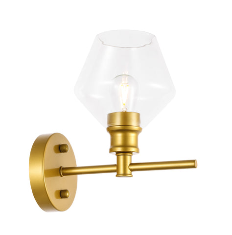 Gene 1 light Brass and Clear glass Wall sconce - llightsdaddy - Living District - Wall Sconces and Lamps