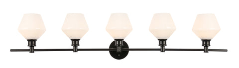 Gene 5 light Black and Frosted white glass Wall sconce - llightsdaddy - Living District - Wall Sconces and Lamps