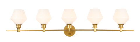 Gene 5 light Brass and Frosted white glass Wall sconce - llightsdaddy - Living District - Wall Sconces and Lamps