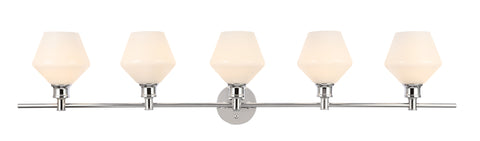Gene 5 light Chrome and Frosted white glass Wall sconce - llightsdaddy - Living District - Wall Sconces and Lamps
