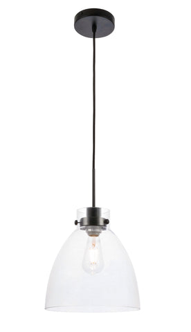 Frey 1 light Black and Clear glass pendant
