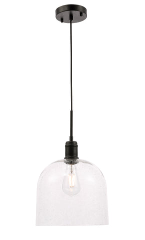 Gabe 1 light Black and Clear seeded glass pendant - llightsdaddy - Living District - Pendant Lights