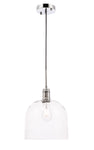 Gabe 1 light Chrome and Clear seeded glass pendant - llightsdaddy - Living District - Pendant Lights