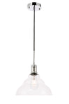 Gil 1 light Chrome and Clear seeded glass pendant - llightsdaddy - Living District - Pendant Lights