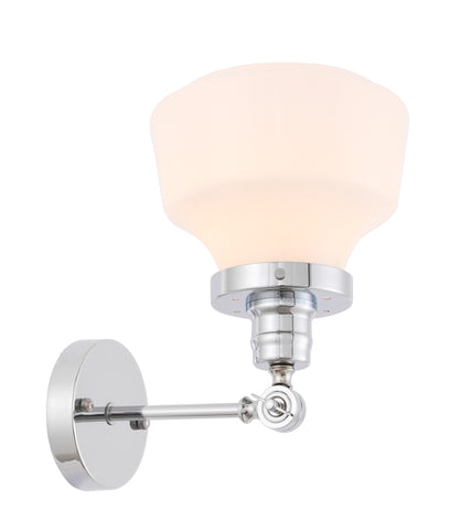 Lyle 1 light Chrome and frosted white glass wall sconce - llightsdaddy - Living District - Wall Sconces and Lamps