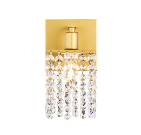 Phineas 1 light Brass and Clear Crystals wall sconce - llightsdaddy - Living District - Wall Sconces and Lamps