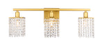 Phineas 3 light Brass and Clear Crystals wall sconce - llightsdaddy - Living District - Wall Sconces and Lamps