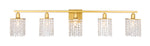 Phineas 5 light Brass and Clear Crystals wall sconce - llightsdaddy - Living District - Wall Sconces and Lamps