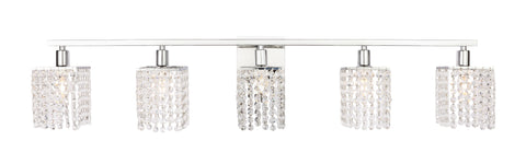 Phineas 5 light Chrome and Clear Crystals wall sconce - llightsdaddy - Living District - Wall Sconces and Lamps