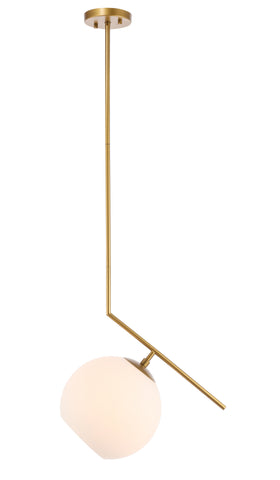 Ryland 1 light Brass and Frosted White glass pendant - llightsdaddy - Living District - Pendant Lights