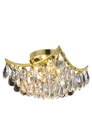 Clara Collection Flush Mount D10in H8in Lt:4 Gold Finish - llightsdaddy - Living District - Chandeliers