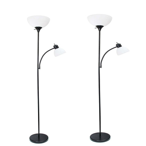 Simple Designs Home LF2000-BLK Mother-Daughter Floor Lamp with Reading Light 71 x 20.47 x 11.35 inches, Black (Pack of 2)  Simple Designs Home Lamp Shades llightsdaddy.myshopify.com lightsdaddy