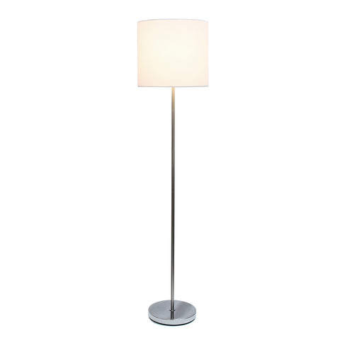 Simple Designs Brushed Nickel Drum Shade Floor Lamp, White - llightsdaddy - Simple Designs - Floor Lamps