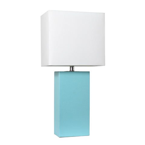 Elegant Designs Modern Leather Table Lamp with White Fabric Shade, Aqua - llightsdaddy - Elegant Designs - Table Lamp