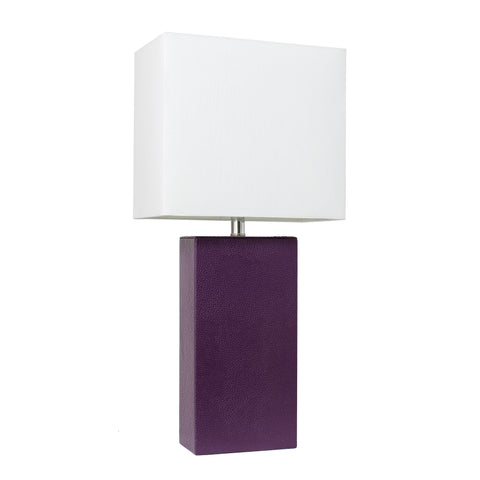 Elegant Designs Modern Leather Table Lamp with White Fabric Shade, Eggplant - llightsdaddy - Elegant Designs - Table Lamp
