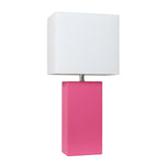 Elegant Designs Modern Leather Table Lamp with White Fabric Shade, Hot Pink - llightsdaddy - Elegant Designs - Table Lamp