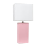Elegant Designs Modern Leather Table Lamp with White Fabric Shade, Pink - llightsdaddy - Elegant Designs - Table Lamp