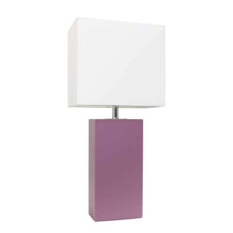 Elegant Designs Modern Leather Table Lamp with White Fabric Shade, Purple - llightsdaddy - Elegant Designs - Table Lamp