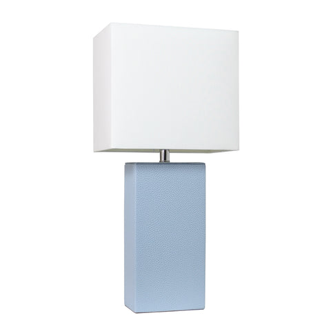 Elegant Designs Modern Leather Table Lamp with White Fabric Shade, Periwinkle