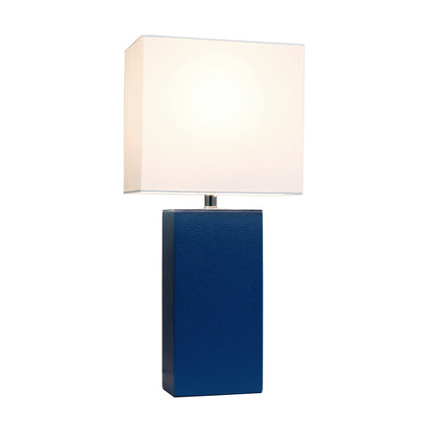 Elegant Designs Modern Leather Table Lamp with White Fabric Shade,  Blue - llightsdaddy - Elegant Designs - Table Lamp