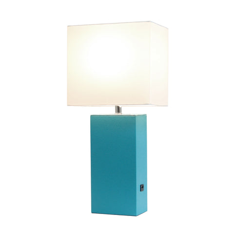 Elegant Designs Modern Leather Table Lamp with USB and White Fabric Shade, Teal - llightsdaddy - Elegant Designs - Table Lamp