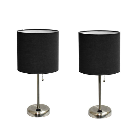 Limelights LT2024-BLK Brushed Steel Lamp with Charging Outlet and Fabric Shade, Black (Pack of 2) - llightsdaddy - Limelights - Lamp Shades