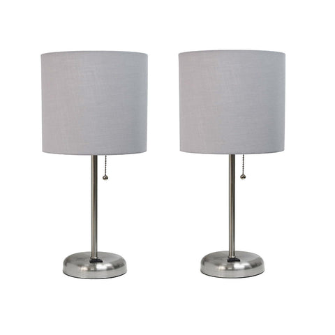 Limelights LT2024-GRY Brushed Steel Lamp with Charging Outlet and Fabric Shade, Grey (Pack of 2)