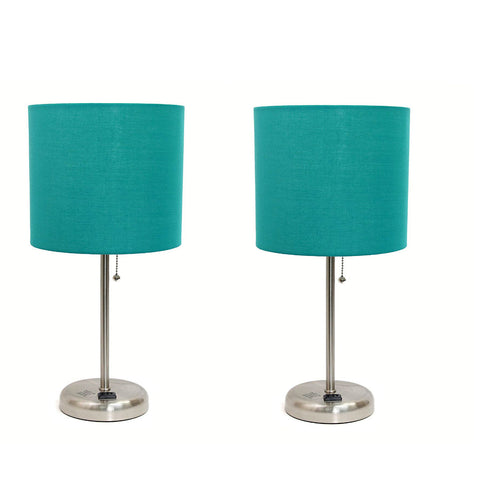 Limelights LT2024-TEL Stick Brushed Steel Lamp with Charging Outlet and Fabric Shade, 19.50 x 8.50 x 8.50 inches, Teal (Pack of 2) - llightsdaddy - Limelights - Lamp Shades