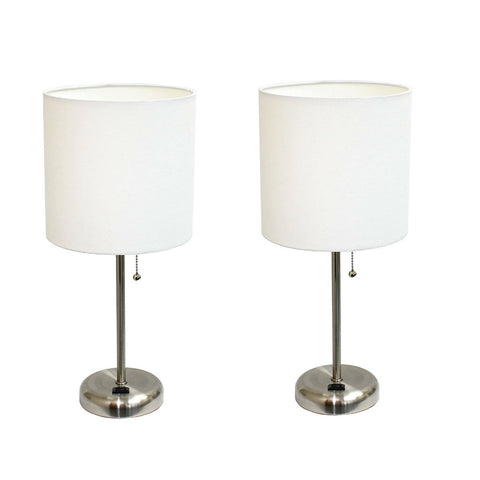 Limelights LT2024-WHT Brushed Steel Lamp with Charging Outlet and Fabric Shade, White (Pack of 2) - llightsdaddy - Limelights - Lamp Shades