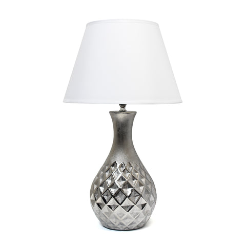 Elegant Designs Juliet Ceramic Table Lamp with Metallic Silver Base and White Fabric Shade - llightsdaddy - Elegant Designs - Floor Lamps