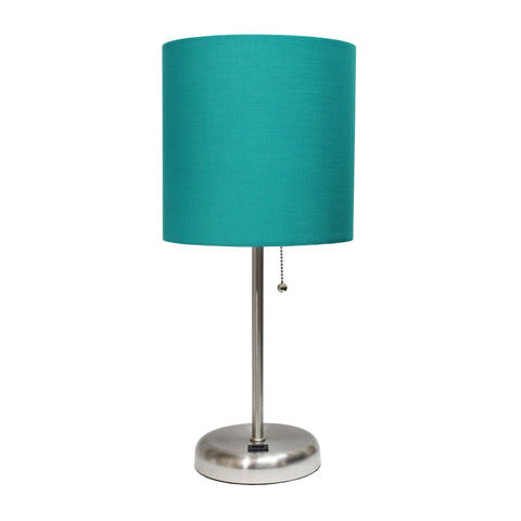 LimeLights Stick Lamp with USB charging port and Fabric Shade, Teal  Limelights Lamp Shades llightsdaddy.myshopify.com lightsdaddy
