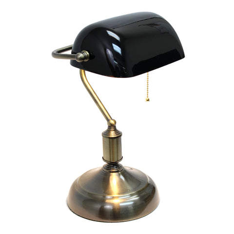 Simple Designs Executive Banker's Desk Lamp with Glass Shade, Black  Simple Designs Lamp Shades llightsdaddy.myshopify.com lightsdaddy