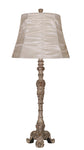 Elegant Designs Antique Style Buffet Table Lamp with Cream Ruched Shade - llightsdaddy - Elegant Designs - Table Lamp