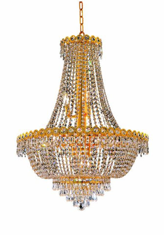 1900 Century Collection Chandelier D:24in H:30in Lt:12 Gold Finish (Elegant Cut Crystals) - llightsdaddy - Elegant Lighting - Chandeliers