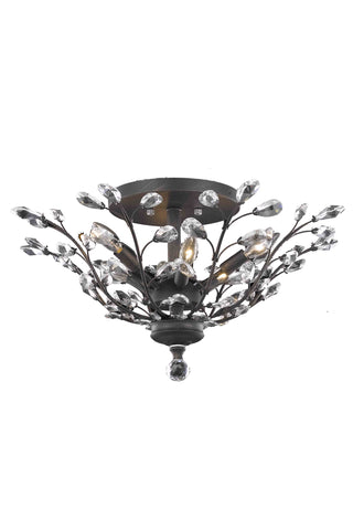 Orchid 6 light Dark Bronze Flush Mount Clear Elegant Cut Crystal - llightsdaddy - Elegant Lighting - Chandeliers