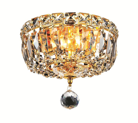 Tranquil 2 light Gold Flush Mount Clear Elegant Cut Crystal - llightsdaddy - Elegant Lighting - Chandeliers