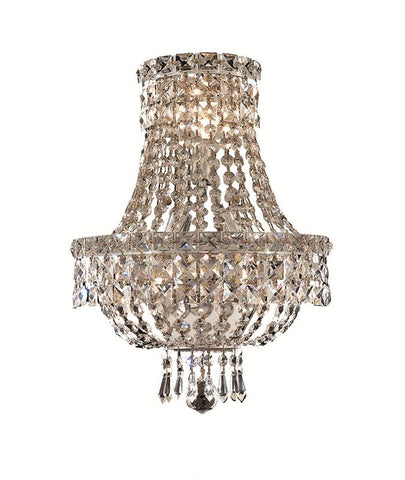 Tranquil 3 light Chrome Wall Sconce Clear Elegant Cut Crystal - llightsdaddy - Elegant Lighting - Wall Sconces and Lamps