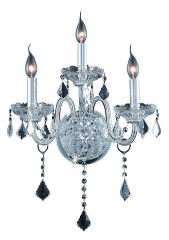 Verona 3 light Chrome Wall Sconce Clear Elegant Cut Crystal - llightsdaddy - Elegant Lighting - Wall Sconces and Lamps