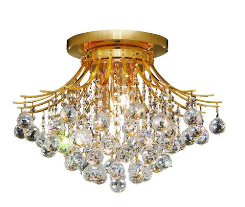 Toureg 6 light Gold Flush Mount Clear Elegant Cut Crystal - llightsdaddy - Elegant Lighting - Chandeliers