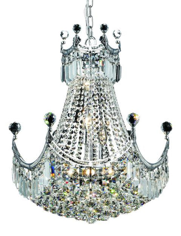 8949 Corona Collection Chandelier D:20in H:28in Lt:9 Chrome Finish (Elegant Cut Crystals) - llightsdaddy - Elegant Lighting - Chandeliers