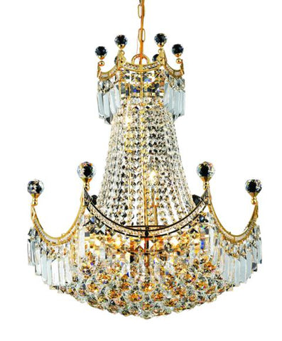 8949 Corona Collection Chandelier D:20in H:28in Lt:9 Gold Finish (Elegant Cut Crystals) - llightsdaddy - Elegant Lighting - Chandeliers