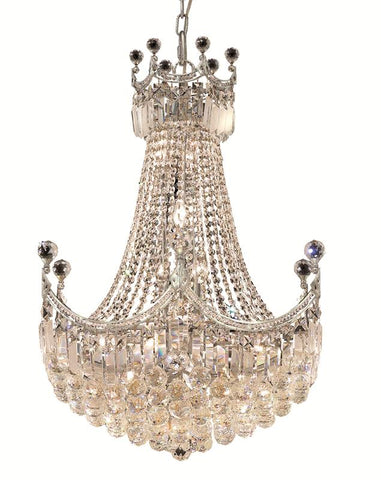 8949 Corona Collection Chandelier D:24in H:32in Lt:18 Chrome Finish (Elegant Cut Crystals) - llightsdaddy - Elegant Lighting - Chandeliers