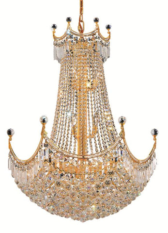 8949 Corona Collection Chandelier D:30in H:40in Lt:24 Gold Finish (Elegant Cut Crystals)