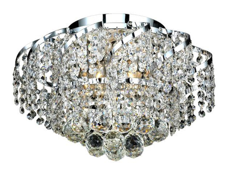 Belenus 6 light Chrome Flush Mount Clear Elegant Cut Crystal