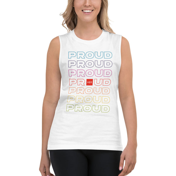 Proud Proud Proud - Muscle Tee in White