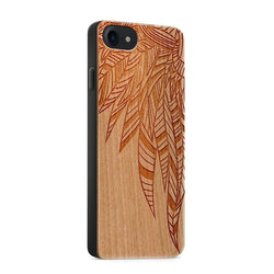 Wooden mobile phone case - Abstract Feather