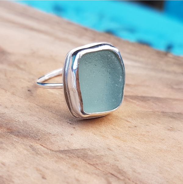 Handmade silver and blue seaglass ring
