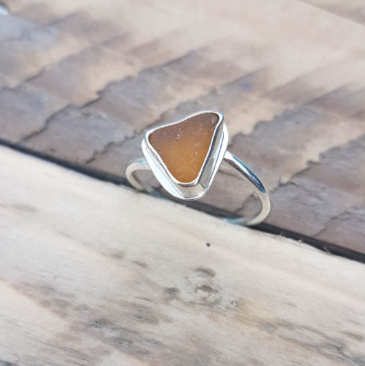 Handmade silver and amber seaglass ring