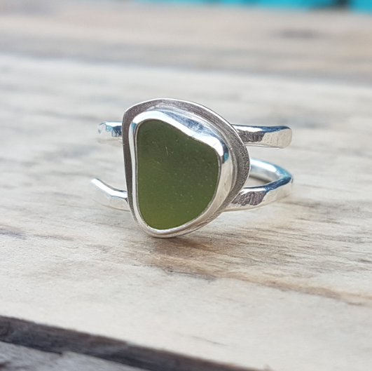 Handmade silver and lime green seaglass ring